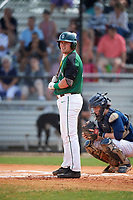 Dartmouth Big Green first baseman Michael Ketchmark (27) at bat during a game against the Southern Maine Huskies on March 23, 2017 at Lake Myrtle Park in Auburndale, Florida.  Dartmouth defeated Southern Maine 9-1.  (Mike Janes/Four Seam Images)