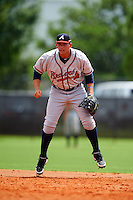 GCL Braves first baseman Juan Yepez (13) during a game against the GCL Astros on July 23, 2015 at the Osceola County Stadium Complex in Kissimmee, Florida.  GCL Braves defeated GCL Astros 4-2.  (Mike Janes/Four Seam Images)