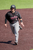 South Carolina Gamecocks catcher Colin Burgess (10) runs to third base against the Vanderbilt Commodores at Hawkins Field in Nashville, Tennessee, on March 21, 2021. The Gamecocks won 6-5. (Danny Parker/Four Seam Images)