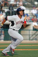 Hickory Crawdads infielder Josh Morgan (3) at bat during a game against the Charleston RiverDogs at Joseph P. Riley Jr. Ballpark on May 2, 2015 in Charleston, South Carolina. Hickory defeated Charleston 4-1. (Robert Gurganus/Four Seam Images)