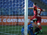 Football, Serie A: AS Roma -  Udinese, Olympic stadium, Rome, February 14, 2021. <br /> Roma's Jordan Veretout (c) celebrates after scoing during the Italian Serie A football match between Roma and Udinese at Rome's Olympic stadium, on February 14, 2021.  <br /> UPDATE IMAGES PRESS/Isabella Bonotto