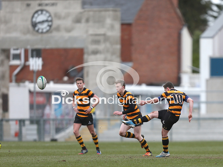 CAI vs RBAI   Tuesday 3rd March 2015<br /> <br /> TJ Morris converts penalty for RBAI during the 2015 Ulster Schools Cup Semi-Final between Coleraine Inst and RBAI at the Kingspan Stadium, Ravenhill Park, Belfast, Northern Ireland.<br /> <br /> Picture credit: John Dickson / DICKSONDIGITAL