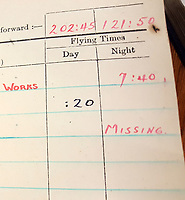 BNPS.co.uk (01202 558833)<br /> Pic: BeechAuctions/BNPS<br /> <br /> 24/12/44 - 'Missing' in log book.<br /> <br /> Sold for £700, after being rescued from a waste bin - the tragic tale of a doomed Lancaster crew - shot down on its last mission over Germany, on Christmas Eve 1944, the pilots 21st birthday...<br /> <br /> The poignant archive belonged to the family of Flt Sgt Ernest McGuire, wireless operator on the doomed Lancaster Bomber ND388 that set off on Christmas eve 1944.<br /> <br /> The aircraft was due to fly to it's 30th and final operation in Cologne from RAF Grimsby but never made it to its destination.