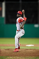 Williamsport Crosscutters relief pitcher Oscar Marcelino (40) delivers a pitch during a game against the Batavia Muckdogs on June 21, 2018 at Dwyer Stadium in Batavia, New York.  Batavia defeated Williamsport 6-5.  (Mike Janes/Four Seam Images)