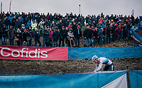 Mathieu van der Poel (NED/Corendon-Circus) once again proving to be the dominant rider of the pack<br /> <br /> men's race<br /> Soudal Jaarmarktcross Niel 2018 (BEL)
