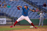 Clearwater Threshers pitcher J.P. Woodward (43) during a game against the Dunedin Blue Jays on May 18, 2021 at BayCare Ballpark in Clearwater, Florida.  (Mike Janes/Four Seam Images)