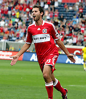 Chicago Fire midfielder Peter Lowry (29) celebrates after scoring his second goal of the match.  The Columbus Crew tied the Chicago Fire 2-2 at Toyota Park in Bridgeview, IL on September 20, 2009.