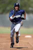 Milwaukee Brewers outfielder Johnny Davis (1) during an Instructional League game against the Oakland Athletics on October 10, 2013 at Maryvale Baseball Park Training Complex in Phoenix, Arizona.  (Mike Janes/Four Seam Images)