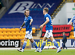 St Johnstone v St Mirren……29.08.20   McDiarmid Park  SPFL<br />Jason Kerr gives a well done to Stevie May at full time<br />Picture by Graeme Hart.<br />Copyright Perthshire Picture Agency<br />Tel: 01738 623350  Mobile: 07990 594431