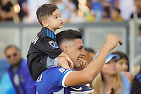 SAN JOSE, CA - AUGUST 8: Cristian Espinoza #10 of the San Jose Earthquakes celebrates after a game between Los Angeles FC and San Jose Earthquakes at PayPal Park on August 8, 2021 in San Jose, California.