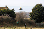 Police at the scene of the mid air collision over Kenfig sand dunes near Porthcawl..