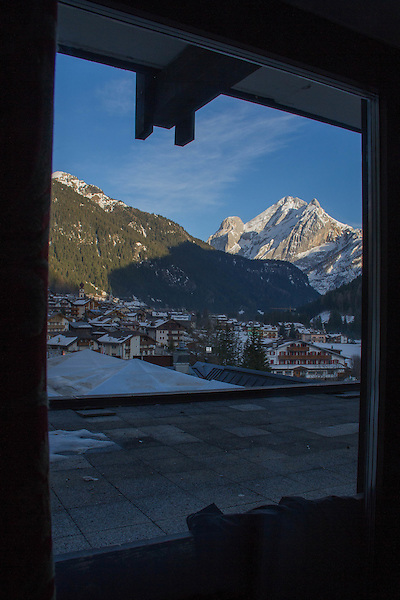 View from hotel in  Canazei, Italy,