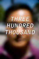 """Anonymous portrait taken in Cambridge, Massachusetts, USA,  paired with text answering the question: How much do you owe?  The project was produced as a look at personal debt for Longshot Magazine #2.  ..The person's response here reads: """"Three hundred thousand"""""""