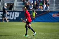 Cary, North Carolina - Sunday December 6, 2015: Britt Eckerstrom (28) of the Penn State Nittany Lions yells encouragement to her team during first half action against the Duke Blue Devils at the 2015 NCAA Women's College Cup at WakeMed Soccer Park.  The Nittany Lions defeated the Blue Devils 1-0.