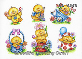 Interlitho-Theresa, EASTER, OSTERN, PASCUA, paintings+++++,6 chicks,KL4569,#e#, EVERYDAY ,chicks,chicken ,sticker,stickers