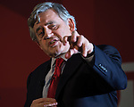 © Joel Goodman - 07973 332324 . 16/06/2016 . Manchester , UK .  GORDON BROWN speaks . Labour Shadow Chancellor , John McDonnell MP and former Labour Prime Minister , Gordon Brown , speak at a Labour IN campaign event at the Union at the University of Manchester . Photo credit : Joel Goodman