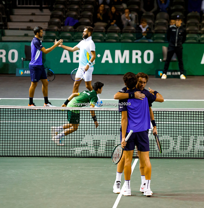 Rotterdam, The Netherlands, 12 Februari 2020, ABNAMRO World Tennis Tournament, Ahoy, Doubles: Benoit Paire (FRA) and Mate Pavic (CRO), Pierre-Hugues Herbert (FRA) and Nicolas Mahut (FRA).<br /> Photo: www.tennisimages.com