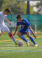5 September 2014: University of Massachusetts River Hawks Midfielder Guilherme Rodrigues, a Sophomore from Lowell, MA, in action against the St. Francis College Terriers at Virtue Field in Burlington, Vermont. The River Hawks defeated the Terriers 3-1, on their way to finishing the Morgan Stanley Smith Barney Windjammer Classic Men's Soccer Tournament with a 2-0 record, and being crowned as tournament champions on goal differential. Mandatory Credit: Ed Wolfstein Photo *** RAW (NEF) Image File Available ***
