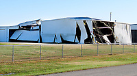 Westside Eagle Observer/RANDY MOLL<br /> Hangars at Smith Field in Siloam Springs suffered extensive damage in a late-night storm on Sunday (Oct. 20, 2019).