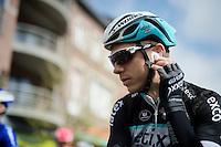 Tony Martin (DEU/Ettix-Quickstep) checking his ear-piece before the start<br /> <br /> 79th Flèche Wallonne 2015