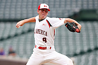 August 8, 2009:  Pitcher John Barbato (8) of Team One during the Under Armour All-America event at Wrigley Field in Chicago, IL.  Photo By Mike Janes/Four Seam Images