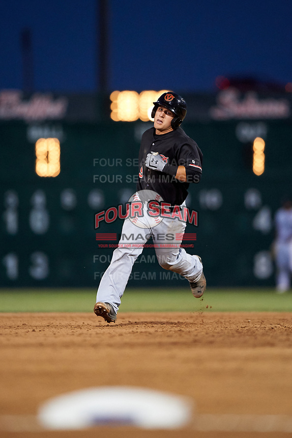Visalia Rawhide catcher Daulton Varsho (9) rounds the bases after hitting a home run during a California League game against the Lancaster JetHawks at The Hangar on May 17, 2018 in Lancaster, California. Lancaster defeated Visalia 11-9. (Zachary Lucy/Four Seam Images)