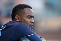 Wilmington Blue Rocks designated hitter Elier Hernandez (15) watches from the dugout during the game against the Buies Creek Astros at Jim Perry Stadium on April 29, 2017 in Buies Creek, North Carolina.  The Astros defeated the Blue Rocks 3-0.  (Brian Westerholt/Four Seam Images)