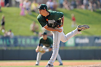 Relief pitcher Jake Smith (35) of the Augusta GreenJackets in a game against the Greenville Drive on Sunday, July 13, 2014, at Fluor Field at the West End in Greenville, South Carolina. Greenville won, 8-5. (Tom Priddy/Four Seam Images)