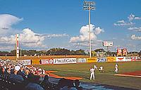Ballparks: San Antonio Municipal Stadium. View of left field and grass berm for picknickers.