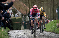 Sep Vanmarcke (BEL/EF Education First) & Wout van Aert (BEL/Jumbo - Visma) up the Molenberg<br /> <br /> 75th Omloop Het Nieuwsblad 2020 (1.UWT)<br /> Gent to Ninove (BEL): 200km<br /> <br /> ©kramon