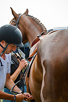 NZL-Jess Wilson with Tim Price's Jarillo before the 1st Horse Inspection for the CCI2*-L. FRA-Le Grand Complet - Haras du Pin FEI Nations Cup Eventing. Le Pin au Haras. Normandie. France. Thursday 12 August 2021. Copyright Photo: Libby Law Photography