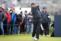 3rd October 2021; The Old Course, St Andrews Links, Fife, Scotland; European Tour, Alfred Dunhill Links Championship, Fourth round; Shane Lowry of Ireland tees off on the third hole during the final round of the Alfred Dunhill Links Championship on the Old Course, St Andrews
