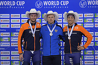 SPEEDSKATING: Calgary, The Olympic Oval, 08-02-2020, ISU World Cup Speed Skating, Podium 1000m Men Division A, Thomas Krol (NED), Pavel Kulizhnikov (RUS), Kjeld Nuis (NED), ©foto Martin de Jong
