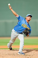 Myrtle Beach Pelicans relief pitcher Randol Rojas (19) in action against the Winston-Salem Dash at BB&T Ballpark on July 7, 2013 in Winston-Salem, North Carolina.  The Pelicans defeated the Dash 6-5 in 8 innings in game two of a double-header.  (Brian Westerholt/Four Seam Images)