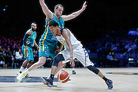 July 14, 2016: LORENZO BONAM (33) of the Utah Utes dribbles the ball during game 2 of the Australian Boomers Farewell Series between the Australian Boomers and the American PAC-12 All-Stars at Hisense Arena in Melbourne, Australia. Sydney Low/AsteriskImages.com