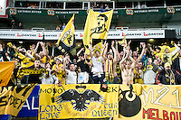 SYDNEY, AUSTRALIA - JULY 31, 2010: AEK Athens fans celebrate after the match between AEK Athens FC and Glasgow Rangers at the 2010 Sydney Festival of Football held at the Sydney Football Stadium on July 31, 2010 in Sydney, Australia. (Photo by Sydney Low / www.syd-low.com)