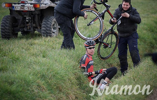 Michael Schär (SUI/BMC) ending up in a ditch<br /> <br /> 71st Dwars door Vlaanderen (1.HC)