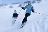 Europe/France/Rhone-Alpes/74/Haute-Savoie/Megève: Ski alpin sur les pistes de l'Alpette -  Mention Megève Obligatoire / [Non destiné à un usage publicitaire - Not intended for an advertising use]