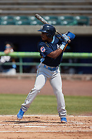 Flemin Bautista (39) of the Myrtle Beach Pelicans at bat against the Lynchburg Hillcats at Bank of the James Stadium on May 23, 2021 in Lynchburg, Virginia. (Brian Westerholt/Four Seam Images)