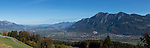 Panorama, View from Seveler Berg into the Rhine-valley and the Principality of Liechtenstein. Sevelen, St. Gallen, SG, Schweiz, Switzerland.<br /> <br /> Foto: Paul J. Trummer