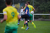 Liam Wood and George Ott battle for possession during the Central League football match between Miramar Rangers and Lower Hutt AFC at David Farrington Park in Wellington, New Zealand on Saturday, 10 April 2021. Photo: Dave Lintott / lintottphoto.co.nz