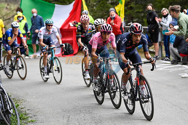 Jonathan Castroviejo Nicolas (ESP) Ineos Grenadiers leads team mate Maglia Rosa Egan Bernal (COL) and Simon Philip Yates (GBR) Team BikeExchange up the final climb of Stage 20 of the 2021 Giro d'Italia, running 164km from Verbania to Valle Spluga-Alpe Motta, Italy. 29th May 2021.  <br /> Picture: LaPresse/Fabio Ferrari | Cyclefile<br /> <br /> All photos usage must carry mandatory copyright credit (© Cyclefile | LaPresse/Fabio Ferrari)