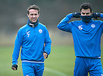 St Johnstone Training….16.12.16<br />Chris Millar and Richie Foster pictured during training this morning at a wet and foggy McDiarmid Park<br />Picture by Graeme Hart.<br />Copyright Perthshire Picture Agency<br />Tel: 01738 623350  Mobile: 07990 594431