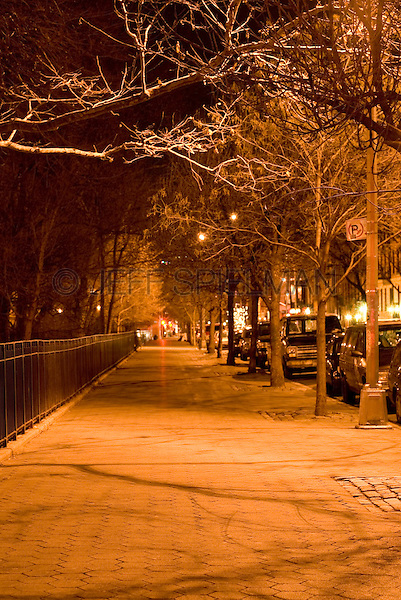 Mysterious Night Street Scene with Bare Trees - Tompkins Square Park, East Village, New York City, New York State, USA