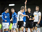 Ayr United v St Johnstone…..08.02.20   Somerset Park   Scottish Cup 5th Round<br />Aaron Muirhead is sent off by referee Steven McLean for a tackle on Liam Craig<br />Picture by Graeme Hart.<br />Copyright Perthshire Picture Agency<br />Tel: 01738 623350  Mobile: 07990 594431