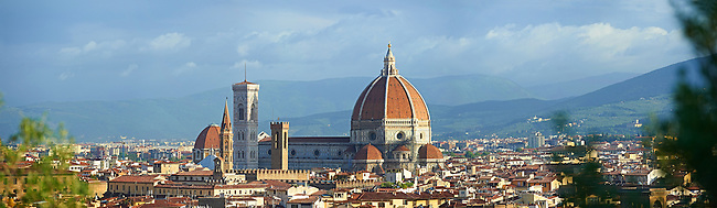 Panoramic view of the Gothic-Renaissance Duomo of Florence,  Basilica of Saint Mary of the Flower; Firenza ( Basilica di Santa Maria del Fiore ) built between 1293 & 1436. Italy