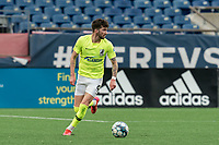 FOXBOROUGH, MA - MAY 12: Greg Hurst #9 of Union Omaha looks to pass during a game between Union Omaha and New England Revolution II at Gillette Stadium on May 12, 2021 in Foxborough, Massachusetts.