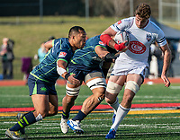 WASHINGTON, DC - FEBRUARY 16: Shalom Suniula #13 of the Seattle Seawolves moves in on Mungo Mason #7 of Old Glory DC during a game between Seattle Seawolves and Old Glory DC at Cardinal Stadium on February 16, 2020 in Washington, DC.