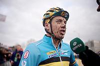 Tom Meeusen (BEL) interviewed post-race<br /> <br /> Elite Men's race<br /> <br /> 2015 UCI World Championships Cyclocross <br /> Tabor, Czech Republic