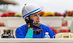 JULY 24, 2021: Juan Hernandez talks on the phone with the stewards after an inquiry in a race at the Del Mar Fairgrounds in Del Mar, California on July 24, 2021. Evers/Eclipse Sportswire/CSM